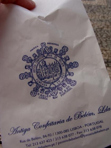 Saco de papel para viagem da Pastelaria de Belém