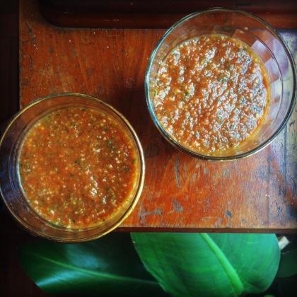 sopa fria de tomate e pepino